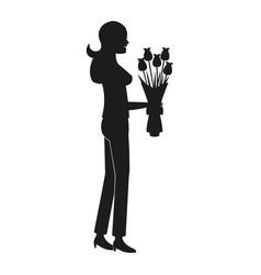 Mother woman flower bouquet celebration pictogram vector