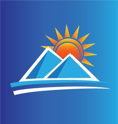 Mountains and sun logo vector image