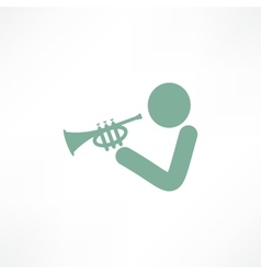 Musician playing trumpet vector