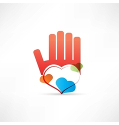 red hand and heart icon vector image vector image