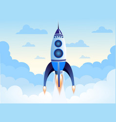 rocket flying above clouds vector image vector image