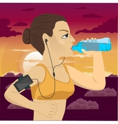 Runner woman with smartphone armband vector