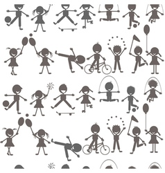 Set of children playing silhouettes vector image vector image