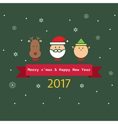 Set of flat christmas characters vector