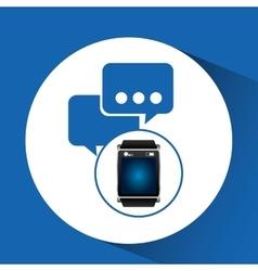 Smart watch blue screen bubble speech icon media vector