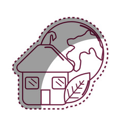Sticker house with leaf and earth planet vector