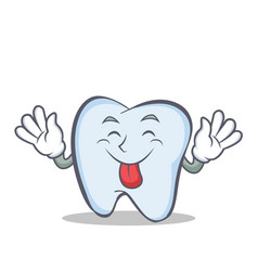 Tongue out tooth character cartoon style vector