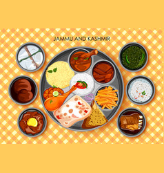 Traditional cuisine and food meal thali of jammu vector