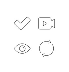Video camera check and rotation arrow icons vector