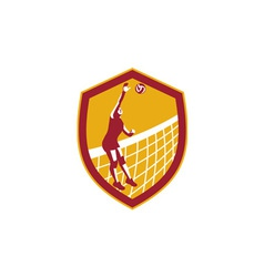 Volleyball player spike ball net retro shield vector