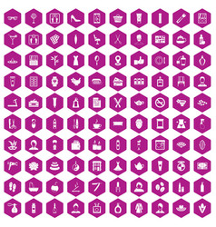 100 beauty salon icons hexagon violet vector