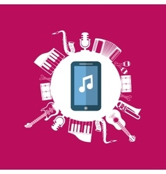 Music sound instruments smartphone vector