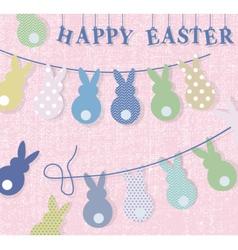 Happy easter bunny rabbits card vector
