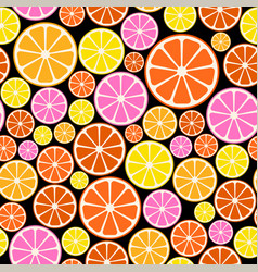 Seamless colorful pattern with citrus fruit vector