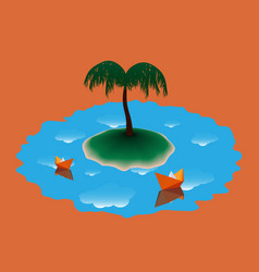 Two paper boat near the island with palm tree vector
