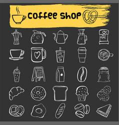 coffee shop doodle icon set vector image