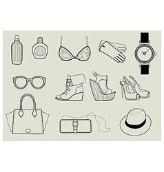 Fashion objects set 1 vector