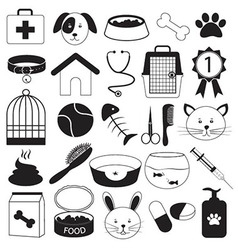 Veterinary clinic and pet icons set vector