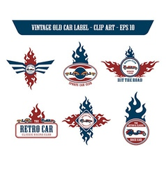 Retro car label sticker vector