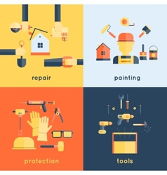 Home repair tools flat vector