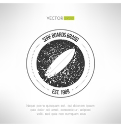 Surfboard label logo made in modern grunge vintage vector