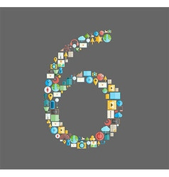 Six number social network with media icons vector