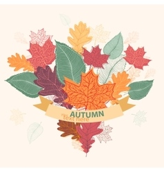 Bouquet of autumn colorful leaves tied with ribbon vector