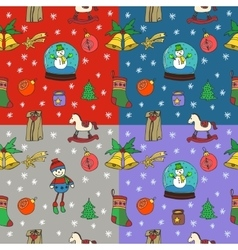 New year christmas seamless pattern set vector