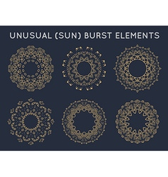 Sun burst vintage shapes collection set of sun ray vector