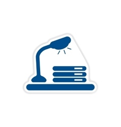 Paper sticker on white background table lamp vector