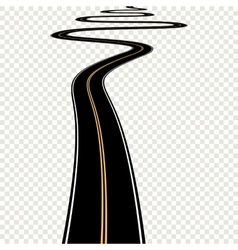 Abstract curved asphalt road isolated on vector image