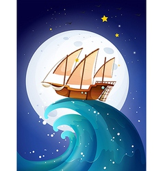 A ship above the giant waves vector image