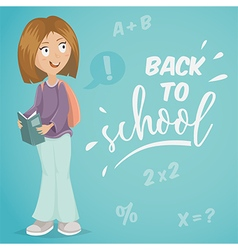 back to school schoolgirl with book vector image