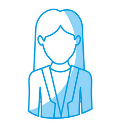 blue silhouette with half body of faceless woman vector image vector image