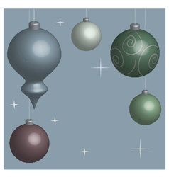 Card christmas balls blue vector