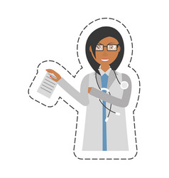 Cartoon female doctor holding document and vector