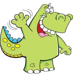 Cartoon Waving Dinosaur vector image vector image