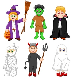 Collection of kids with halloween costume vector