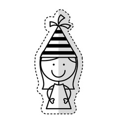 cute little girl with hat party character vector image vector image