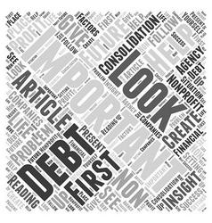 Debt consolidation nonprofit word cloud concept vector