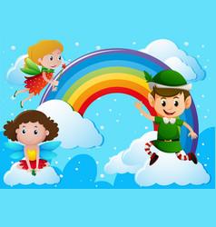 fairies and elf over the rainbow vector image
