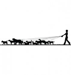 Female dog walker vector