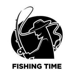 fishing club icon of fisherman and fish catch vector image vector image
