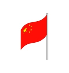 Flag of China icon isometric 3d style vector image