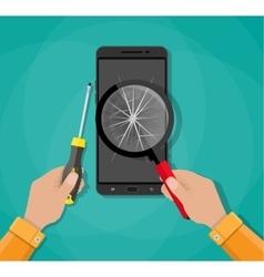 Hands phone with broken screen screwdriver vector