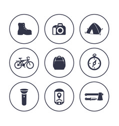 Hiking camping icons in circles over white vector