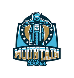 logo emblem of the rider riding a mountain bike vector image vector image