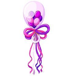 Purple balloons and ribbon vector image vector image