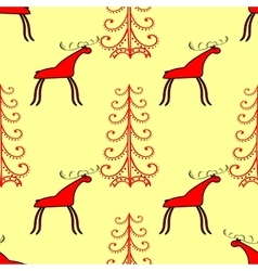 Red elk or deer in the spruce forest vector
