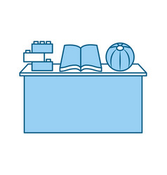 School desk with book isolated icon vector
